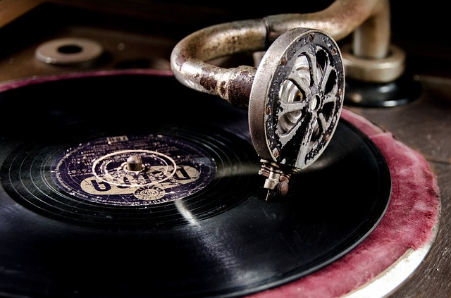vintage record on phonograph