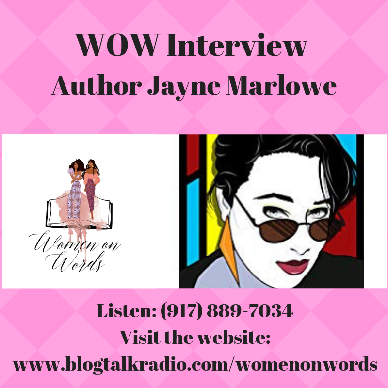 Women on Words Podcast logo and Jayne Marlowe icon